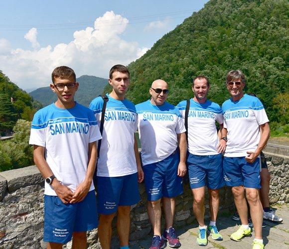 La nazionale sammarinese di corsa in montagna  in evidenza al Lago di Vagli - Campocatino 2018  gara valevole per il Challenge Mountain Running Cup