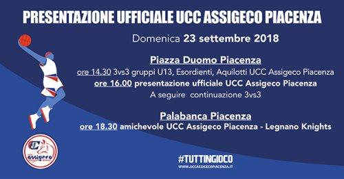 .Doppio appuntamento domenica 23 settembre per l'Assigeco Piacenza