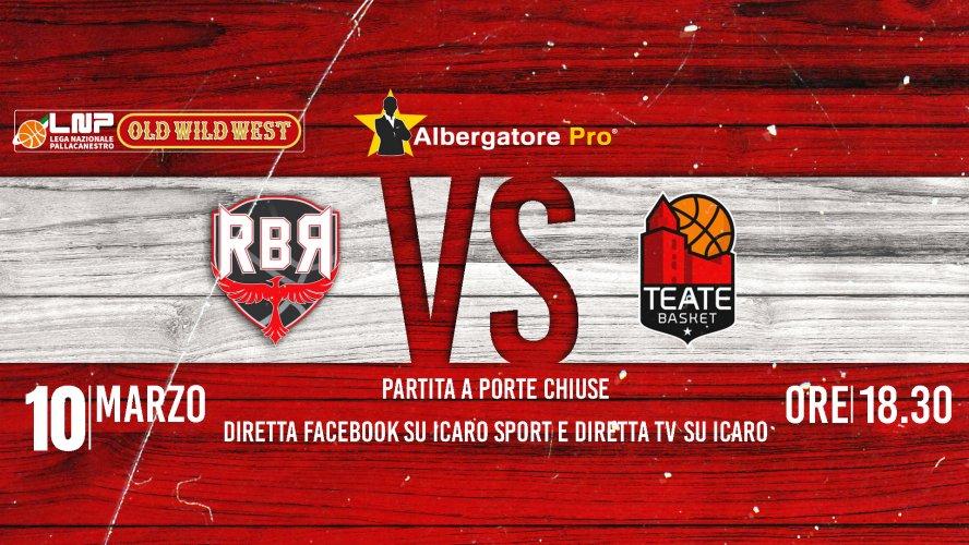 Albergatore Pro RBR - Teate Chieti martedì 10/03/20 alle ore 18.30 in diretta TV e Facebook