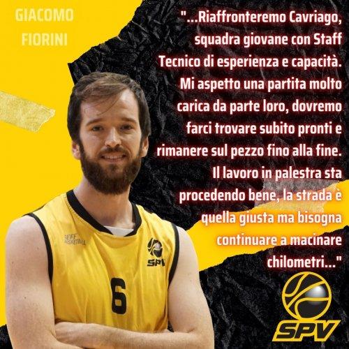 Scuola Basket Cavriago - Scuola Pallacanestro Vignola, Il pre-partita con Giacomo Fiorini
