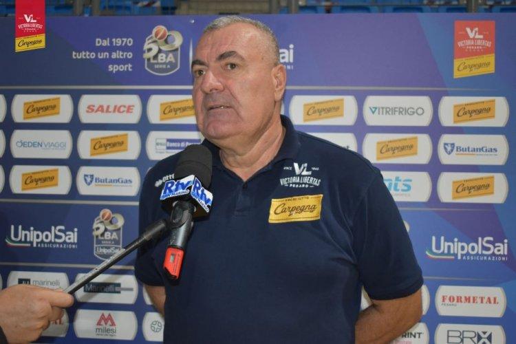 Coach Jasmin Repesa presenta Carpegna Prosciutto Basket Pesaro - Pallacanestro Unahotels Reggiana