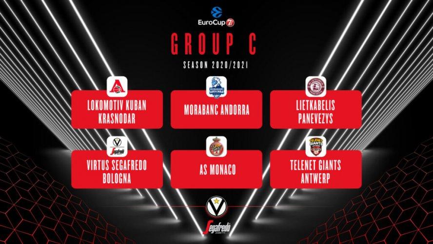 EuroCup 2020/2021: la Virtus Segafredo Bologna  inserita nel Gruppo C