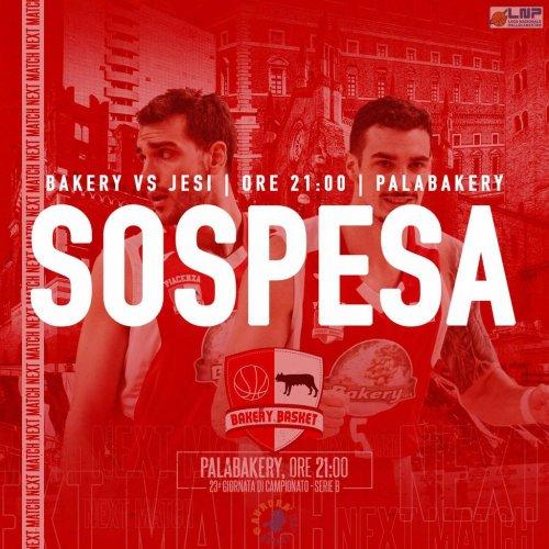 Bakery Piacenza - Aurora Basket Jesi è ufficialmente sospesa
