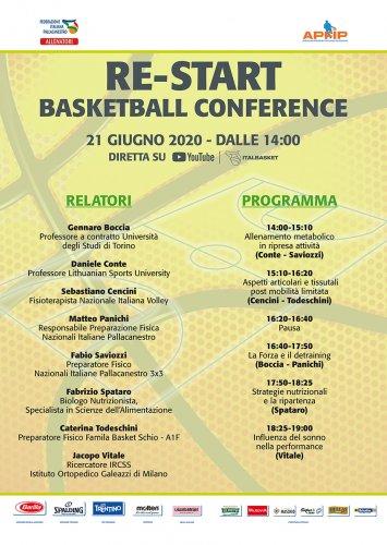 AllenatoriRe-Start Basketball Conference. Clinc FIP-APFIP 21 giugno in diretta sul canale YouTube Italbasket