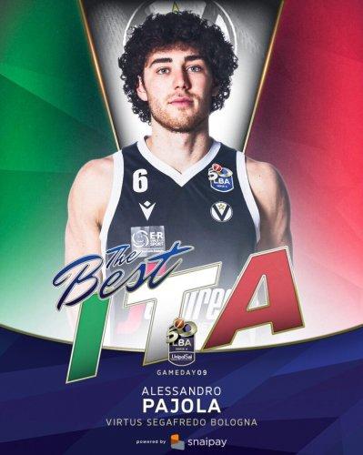 Virtus Segafredo Bologna : Alessandro Pajola è il Miglior italiano  della 9° giornata di andata