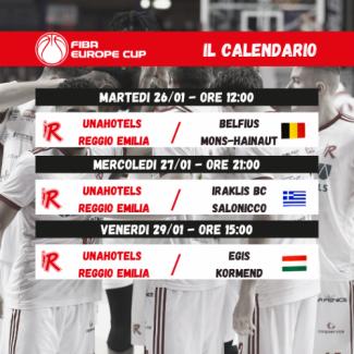 Pallacanestro Reggiana : Fiba Europe Cup, l'esordio nella - bolla -  contro i belgi del Mons - Hainaut