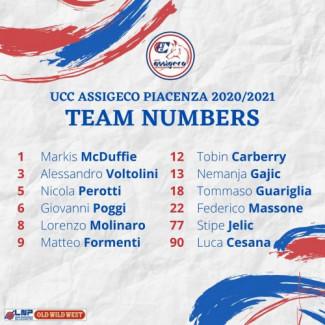 I numeri di maglia Assigeco Piacenza per la prossima stagione