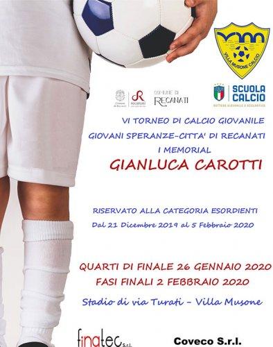 Definiti gli ottavi di finale del 6° torneo giovani speranze, città di Recanati - 1° memorial Gianluca Carotti