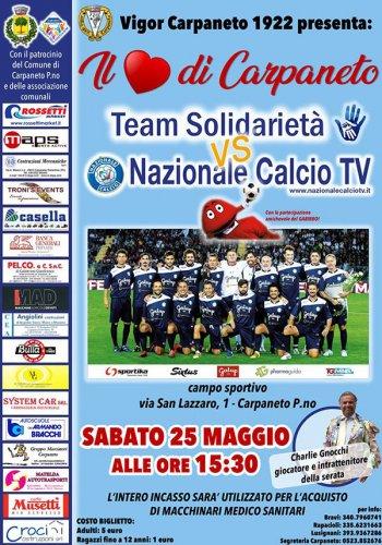 """Match benefico """"Il cuore di Carpaneto"""": protagonista la nazionale calcio Tv"""