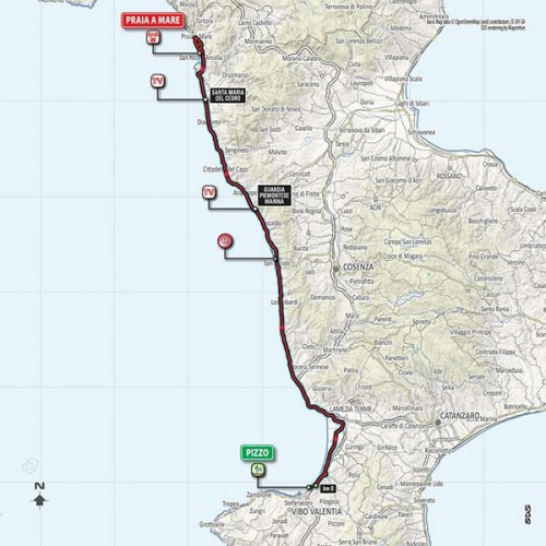 Settima tappa Giro d'Italia 2018, da Praia mare 153km