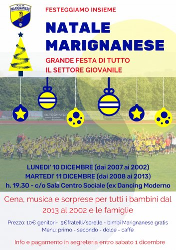 Marignanese, festa di Natale per 250 baby calciatori