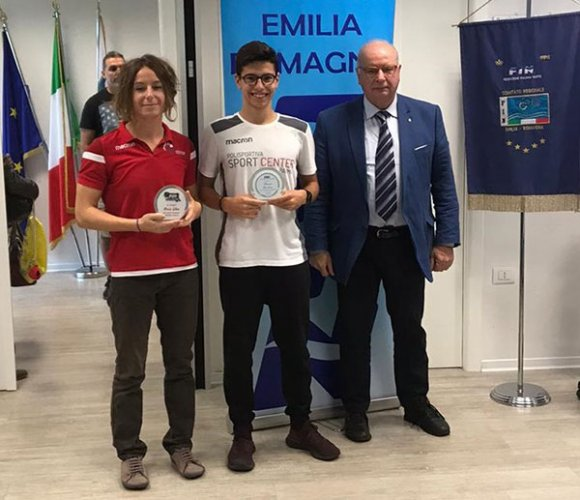 I nuotatori parmigiani Elisa Bassi e Antonio Giordano premiati dalla FIN Emilia Romagna