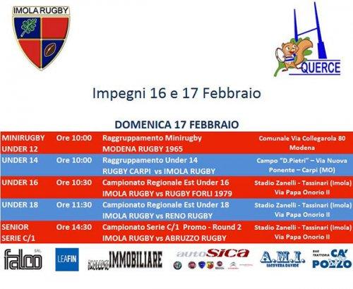 Imola rugby, il programma del weekend 16-17 febbraio