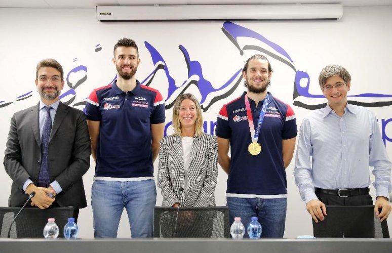 Presentati presso Nordmeccanica SPA i nuovi giocatori biancorossi: il palleggiatore Antoine Brizard e l'opposto Adis Lagumdzija.